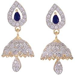 JNB Jewellers American Diamond Designer Bridal Jhumki Earrings For Women And Girls (Blue)