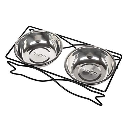 Pet Feeder Doppel Schüssel Keramik Feeder Edelstahl Abtropfbrett Katze Und Hund Liefert Tiernahrung Schüssel (Farbe : C, größe : M)