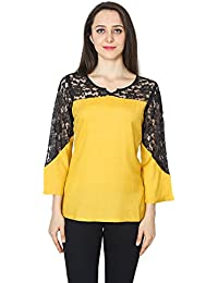 8f5b6d347a Patrorna Blended Girl s Lace Trim Blouson Empire Tops in Mustard Yellow  (LG6S040MUBL)
