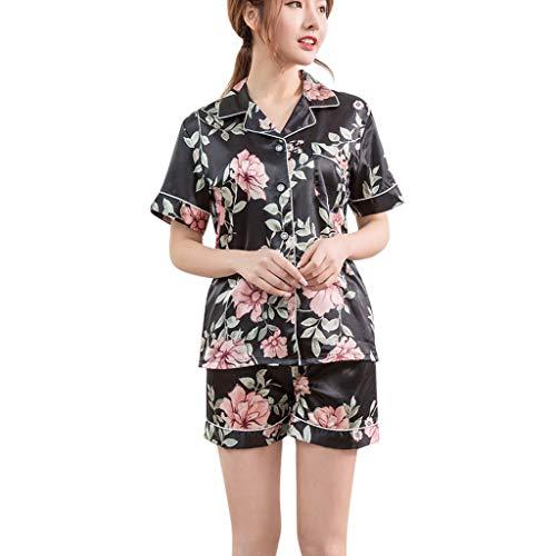 TYTUOO Frauen Nachtwäsche Druckmuster Pyjamas Nachtwäsche 2PC Set