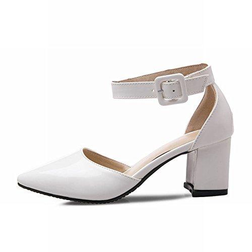 Mee Shoes Damen süß modern Geschlossen Knöchelriemchen Schnalle ankle strap dicker Absatz Lackleder Pumps Weiß