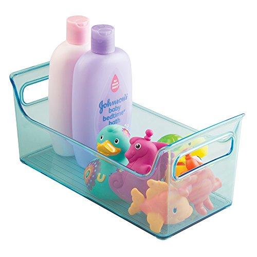 mDesign Caja organizadora para cuarto de bebe - Contenedor plastico para artículos de bebé - Guardatodo ideal para baño o como organizador para productos de cosmética - Color azul