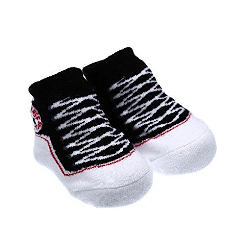 QHGstore Anti Rutsch Baumwoll Socken Schuhe Hausschuhe Socken für 0 6 Monate Neugeborene Baby Mädchen Schwarz