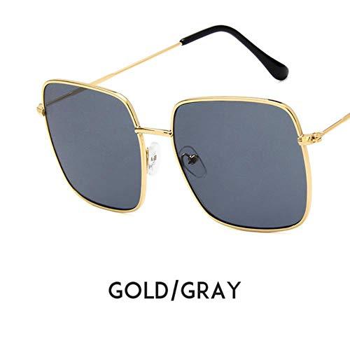 Loving Bird New Big Sonnenbrille Frauen Sommer Übergroße Sonnenbrille Platz Vintage Schwarz Sonnenbrille Strand Shades für Brillenträgerinnen UV400, Gold-grau