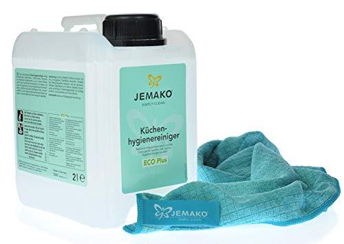 Jemako Küchenhygienereiniger 2l Kanister - Profituch klein 35 x 40 cm inkl. Sinland Feinmaschiges-Wäschenetz