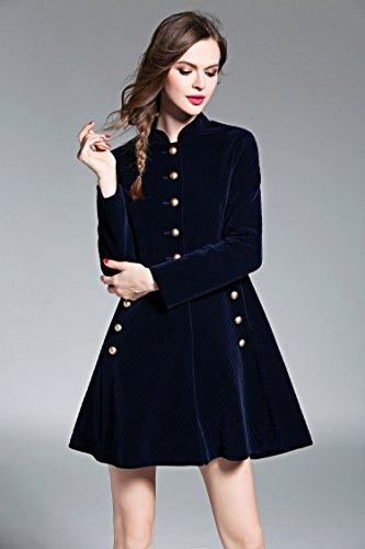 LAI MENG Women Slim Fit Button Front Coat Corduroy Swing A-line Party Evening Cocktail Dress