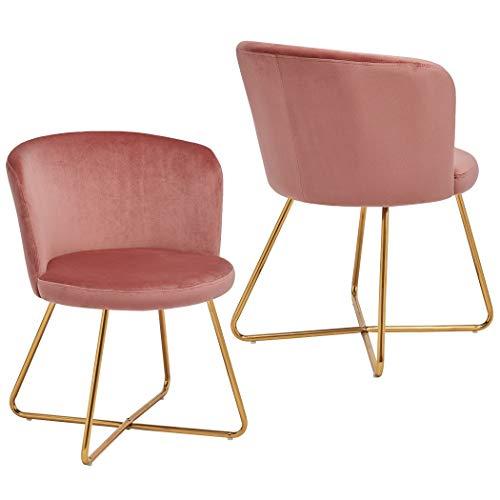 Duhome 2er Set Esszimmerstuhl aus Stoff Samt Rosa Pink Polsterstuhl Retro Design Stuhl mit Rückenlehne Besucherstuhl Metallbeine...