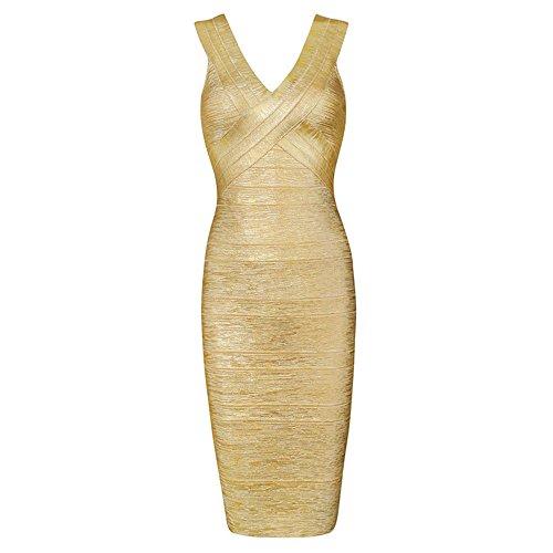 HLBandage ärmellos V-Ausschnitt Metallic Foil Ausdrucken Kunstseide Verband-Kleid(M,Gold)