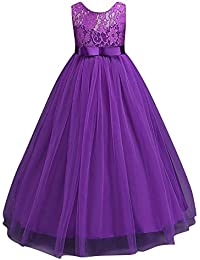Qitun Niñas Vestidos De Princesa Fiesta Sin Mangas Vestido Para Fiesta Del Infantil De Flor Boda