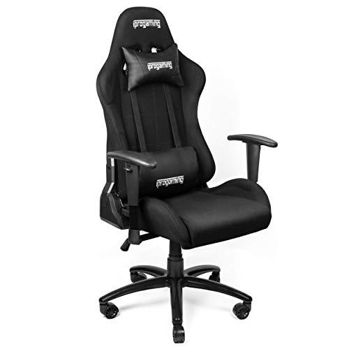 Minuma iProgaming   Gaming Stuhl   Liegefunktion   Belastbarkeit bis zu 200 kg   Bezug aus Stoff in Schwarz   Wippfunktion   Racer Style   als Computerstuhl und Bürostuhl geeignet