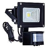 Homwell LED Flutlicht, 10W led fluter mit bewegungsmelder 1000 Lumen IP66 Wasserdicht, 6000K Tageslicht Weiß led aussenstrahler mit bewegungsmelder für Yard Garden Carpark Vorhof [CE ROHS]