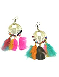 [Sponsored Products]Satyam Kraft Stylish Metal Rings With Feather Earrings For Her/diwali Gift/birthday Gift/garba Accessory/earings...