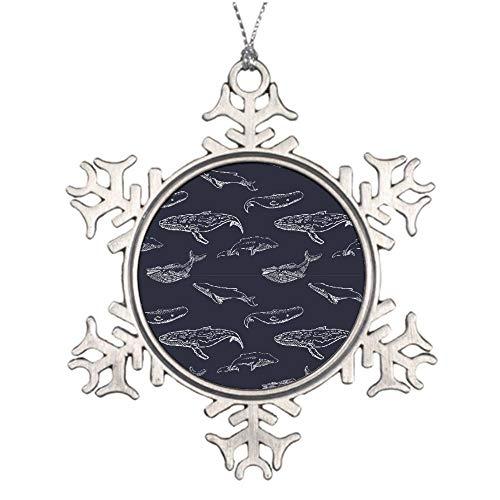 Mesllings Haifisch-Muster, schwarz und weiß, Ornament, spezieller personalisierter Weihnachtsschmuck, einzigartige Weihnachtsdekoration, Geschenk, Ornamente - Personalisierte Schneeflocke aus Metall