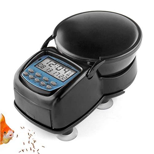 PJDDP Automatische Fisch-Zufuhr, Digital Elektrische Aquarium-Behälter-Teich Programmierbare Lebensmittel Feeding Dispenser Timer Station Mit LCD-Display & Saugnäpfen Für Wochenende/Feiertage -
