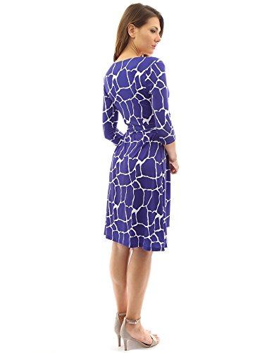 PattyBoutik Damen geometrisches faux wrap Sonnenkleid mit V-Ausschnitt blau und weiß