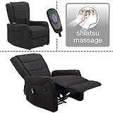 Fernsehsessel mit elektr. Shiatsu Massage, TV Liege- Relaxsessel Mikrofaser grau