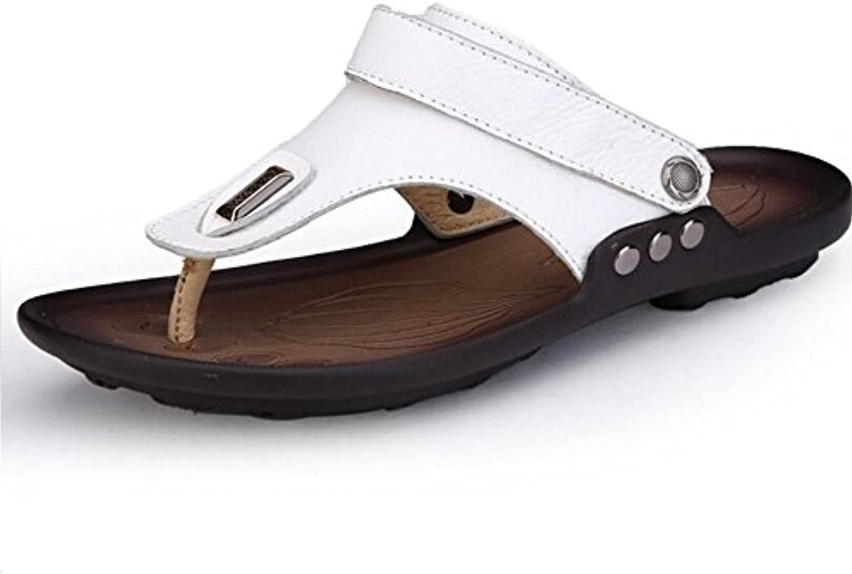 LXMEI Leder Herren Strand Sandalen und Pantoffeln  Hausschuhe  Eine Bequeme Fuß Fuß Atmungsaktiv Sandalen Größe