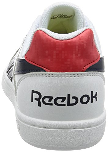 Reebok Royal Prime, Chaussures de Sport Garçon Blanco / Azul / Rojo (White/Navy/Motor Red)