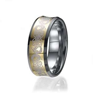 8mm Tungsten Celtic Dragon Gold Inlay Flat Comfort Fit Wedding Band Ring