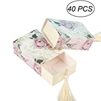 OUNONA 40pcs Floral Candy Box Drawer Design Christmas Party Favor Boxes Craft Paper Box with Tassel for Pulling
