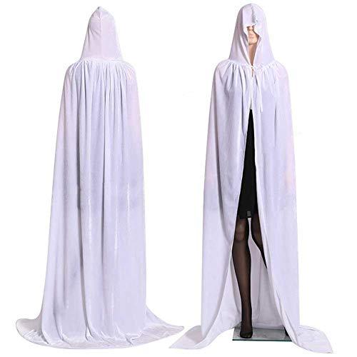 Witch Kostüm Erwachsene White Für - GLXQIJ Unisex Erwachsene Kapuzen Cape Samt Mantel Für Devil Witch Wizard Halloween Weihnachten Cosplay Kostüme,White,M