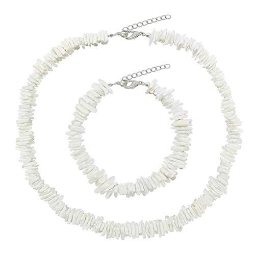 Natural Shell Choker Halsketten für Frauen Einstellbare Handgemachte Hawaii Halskette Schmuck, Armband Muschel Band Freundschaftsband Kauri für Mädchen Lady Boho Schlüsselbein -