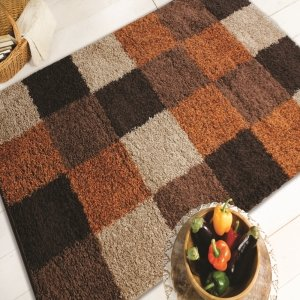Nordic Andes Orange/Brown Blocks Design Oblong Rug 160X230