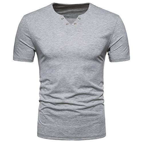 Xmiral T-Shirt Oberteile Herren Baumwollmischung Lässige Einfarbig Persönlichkeit V-Ausschnitt Kurzarm Hemd Tops ()