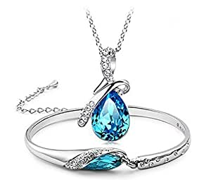 Valentine Gift By Shining Diva White Gold Plated Blue Crystal Combo Pendant Necklace Set with Bracelet for Girls & Women