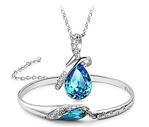 Valentine Gift By Shining Diva White Gold Plated Blue Crystal Combo Pendant...