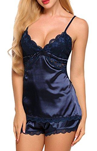 ... Avidlove Sexy Dessous Set Damen Lingerie Reizwäsche Negligee  Unterwäsche Babydoll Bustier BH Nachthemd C2-Marineblau ...
