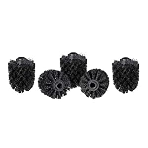 Relaxdays Set of 5, Loose Toilet Brushes, 12 mm Threads, Replacement Heads, Diameter 8 cm, Black