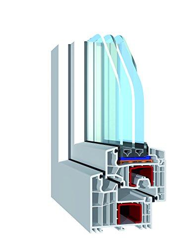 Fenster 60mm Profil verschiedene Ma/ße Kunststoff Kellerfenster wei/ß 3-fach-Verglasung DIN links BxH: 90x40 cm LAGERWARE