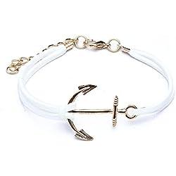 TOOGOO (R) Pulsera Anclas de Oro de aleacion Cuerda Blanca para Mujer Idea Regalo