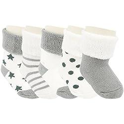 Ateid Pack de 5 Pares de Calcetines gruesos de Algodón Invierno para Bebé Niños 10-26 Meses Gris Claro