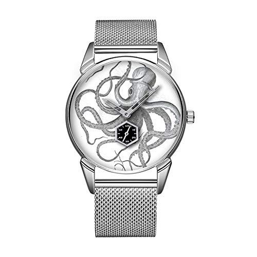 Mode wasserdicht Uhr minimalistischen Persönlichkeit Muster Uhr -583. nautische Steampunk Octopus Vintage Kraken Zeichnung - Nautische Weihnachten