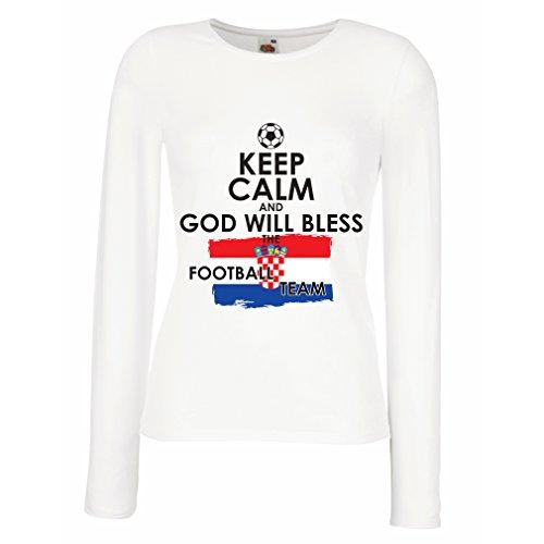 Weibliche langen Ärmeln T-Shirt Keep Calm and God will Bless the Croatian football team (Large Weiß Mehrfarben) (Chad Flag T-shirt)