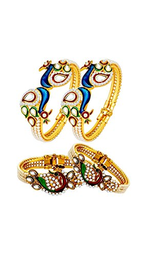 YouBella Jewellery Traditional Gold Plated Combo Of 2 Bracelet Bangles Set For Girls and Women (Adjustable)