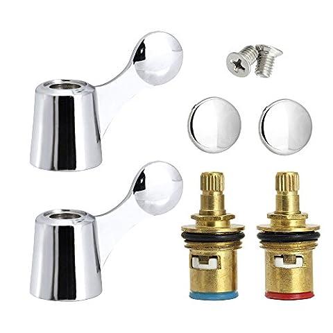 Robinet de remplacement Vannes/Zilong froides et chaudes robinet cartouche à disque en céramique quart de tour 1/5,1cm + Poignée Combinaison pour robinet de salle de bain/cuisine