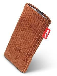 fitBAG Retro Schoko Handytasche Tasche aus Cord-Stoff mit Microfaserinnenfutter für HTC One M8 (neues Modell April 2014)