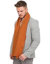 Écharpe rayée en laine de mérinos rouge