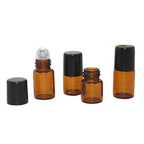 25 mini contenitori cilindrici in vetro per oli essenziali, riutilizzabili, bottiglie in vetro ambrato per profumi, liquidi, biglie di metallo, 1ml