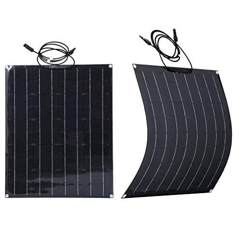 SWEEPID Schwarz Solarpanel 50/60/80/100W 18V Solarmodul Solarzelle Photovoltaik Solarladegerät Solaranlage Flexibel für Outdoor Wohnmobil, Auto (50W)