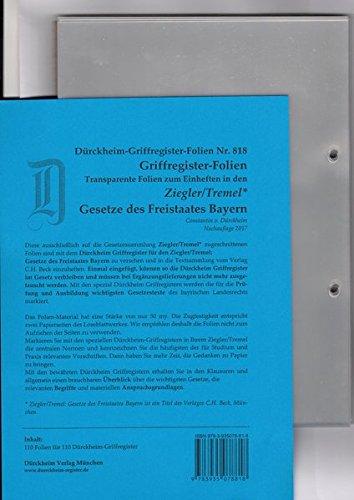 FOLIEN Nr. 818 für Ziegler-Tremel zum Einheften und Unterteilen der Gesetzessammlungen mit den original Dürckheim-Griffregistern