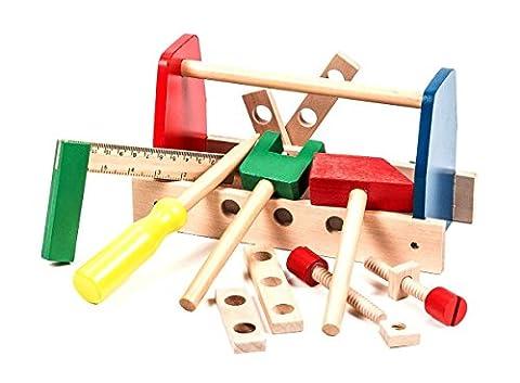 Kinder-Werkzeugkiste Holz, 13-teiliges Zubehör, Motorikförderung, bunt lackiert, Maße ca. 22 x 8,5 x 12 cm
