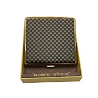 MULOVE Fashion Cigarette Case for 20 Cigarettes Metal and Faux Leather for Men and Women