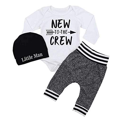 Blaward Newborn Baby Boy Outfits Neu in der Crew Brief gedruckt Strampler mit Streifen Hosen + Hut Herbstkleidung (Gedruckt Crew)