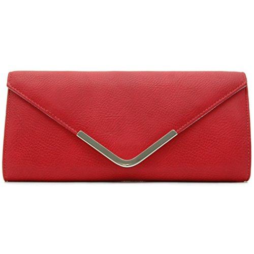 Vain Secrets Abendtasche Clutch mit Schulterriemen Matt (29 cm Lang - 14 cm Hoch - 6 cm Breit, Rot) Abend Tasche Braut-clutch Geldbörse