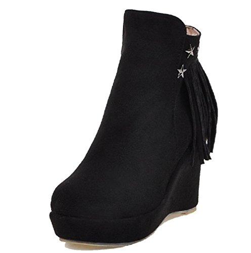 VogueZone009 Damen Hoher Absatz Eingelegt Reißverschluss Stiefel mit Rivet Set Schwarz