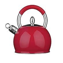 Premier Houseware Whistling Kettle Travel Kettle Heat Resistant Handle Coffee Kettle Stainless Steel Kettle Red Kettle Stove Kettle 2.4 L 25Hx19Wx19D